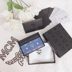 BNIB MCM card holder wallet blue/black